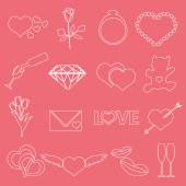 Valentine's day and love outline icons eps10 — Stock Vector