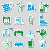 Electricity and enegry symbol color stickers set eps10 — Stock Vector