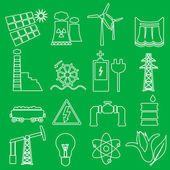 Electricity and enegry symbol outline icons set eps10 — Stock Vector