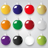 Shiny christmas decoration color small baubles eps10 — Stock Vector