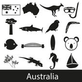 Australia country theme symbols stickers set eps10 — Stock Vector