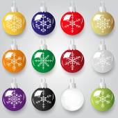Shiny christmas decoration with snowflake color small baubles eps10 — Stock Vector
