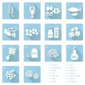 Set of typical food alergens for restaurants and meal flat blue icons eps10 — Stock Vector