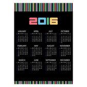 2016 jednoduché nástěnné kalendáře černé a barevné pruhy eps10 — Stock vektor