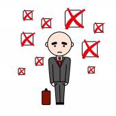 Unsuccsesful man in suit with suitcase — Stock Vector