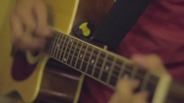 Acoustic guitar playing — Stock Video