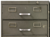 Drawers of an old metal filing cabinet — Stock Photo
