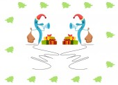 Christmas card showing two pens wearing a Santa cap and writing, with gifts and bugles — Stock Photo