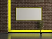 современный дом внутренняя, темная кирпичная стена — Стоковое фото