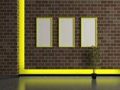Modern house interior, dark brick wall — 图库照片