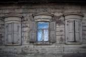 Three old wooden windows. Open window in rural house — Fotografia Stock