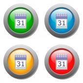 Calendar organaizer icon on buttons set — Vector de stock