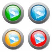 Diamond icon glass button set — Stock Vector