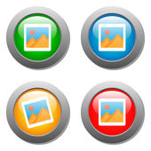Photo icon on set of glass buttons — Stock Vector