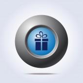 Modré tlačítko s ikonou, současné — Stock vektor