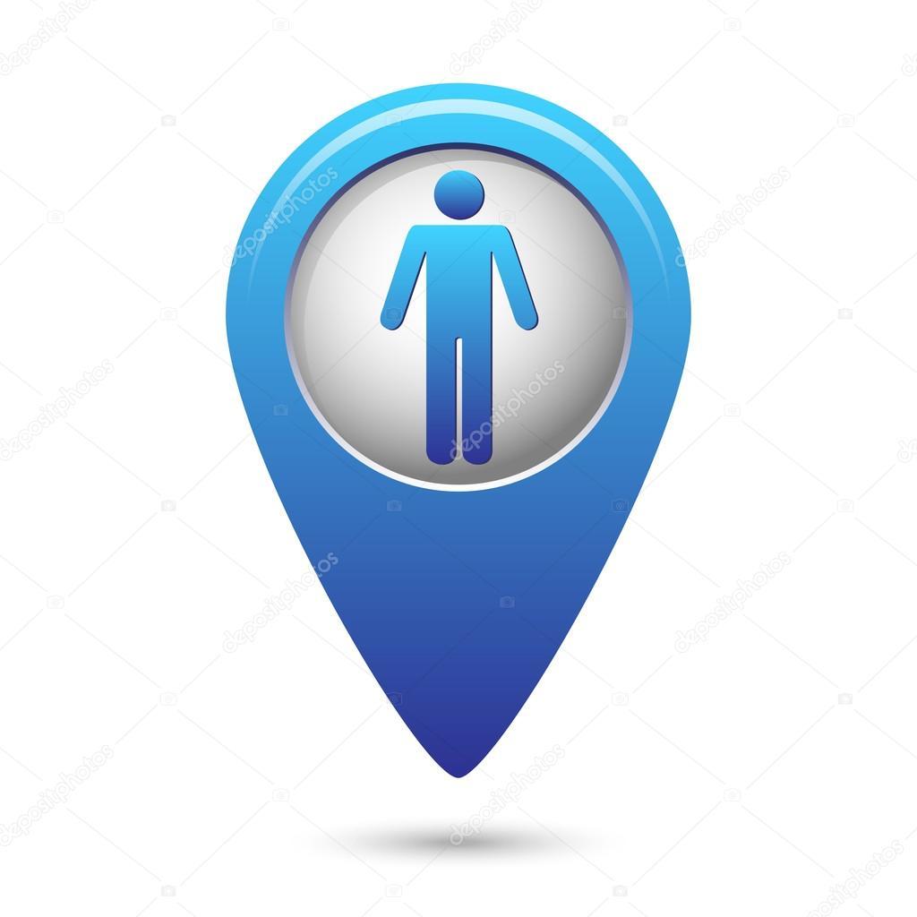 与常规人类图标的蓝色地图指针.矢量图– 图库插图