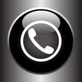 Phone handset icon on black glass button — Stock vektor