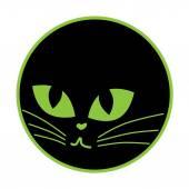 Icona del gatto nero sulla piastra — Vettoriale Stock