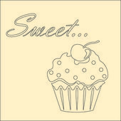 Sweet monochrome card with cupcake — Stock Vector