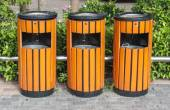 Bins recycling bins public trash trash under the tree — Stock Photo
