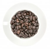 Coffee beans in the cup  isolated on white background — Stock Photo