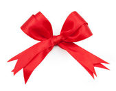 Red ribbon double bow on white background preparation for gift w — Stock Photo