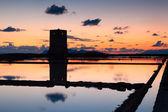 Trapani salt pans at sunset — Stock Photo