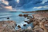 Favignana, Sicily : rocky coast at blue hour — Stock Photo