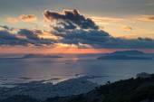 Trapani and Aegadians islands at sunset — Stock Photo