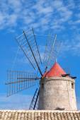 Old windmill in Trapani salt pans, Sicily — Stock Photo