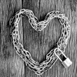 Chain heart shape with master key lock — Stock Photo #56207689
