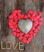 Word love with red and metal heart shaped valentines day — Foto Stock