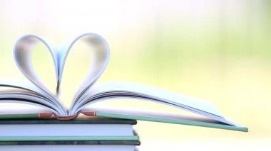 Book stack open page heart shape in wind. — Stock video