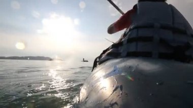 Canoeing, kayaking in the lake — Stock Video