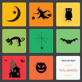 Set of halloween black shadow silhouette on squre shape. — Stock Vector