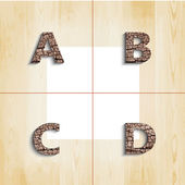 A B C D  wooden font with shadow on wood boards background. — Stock Vector