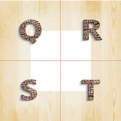 Q R S T wooden font with shadow on wood boards background, vecto — Stock Vector