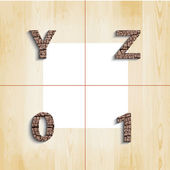 Y Z 0 1 wooden font with shadow on wood boards background — Stock Vector
