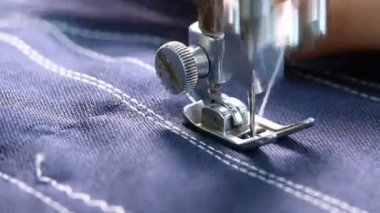 Woman working with sewing machine, Close up HD Clip. — Video Stock