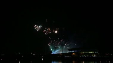 Colorful Firework lights streaks in the night sky. — Stok video