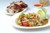 Grilled chicken salad, sticky rice on white background. — Stock Photo