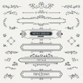 Set of Vintage Decorations Elements — Stock Vector