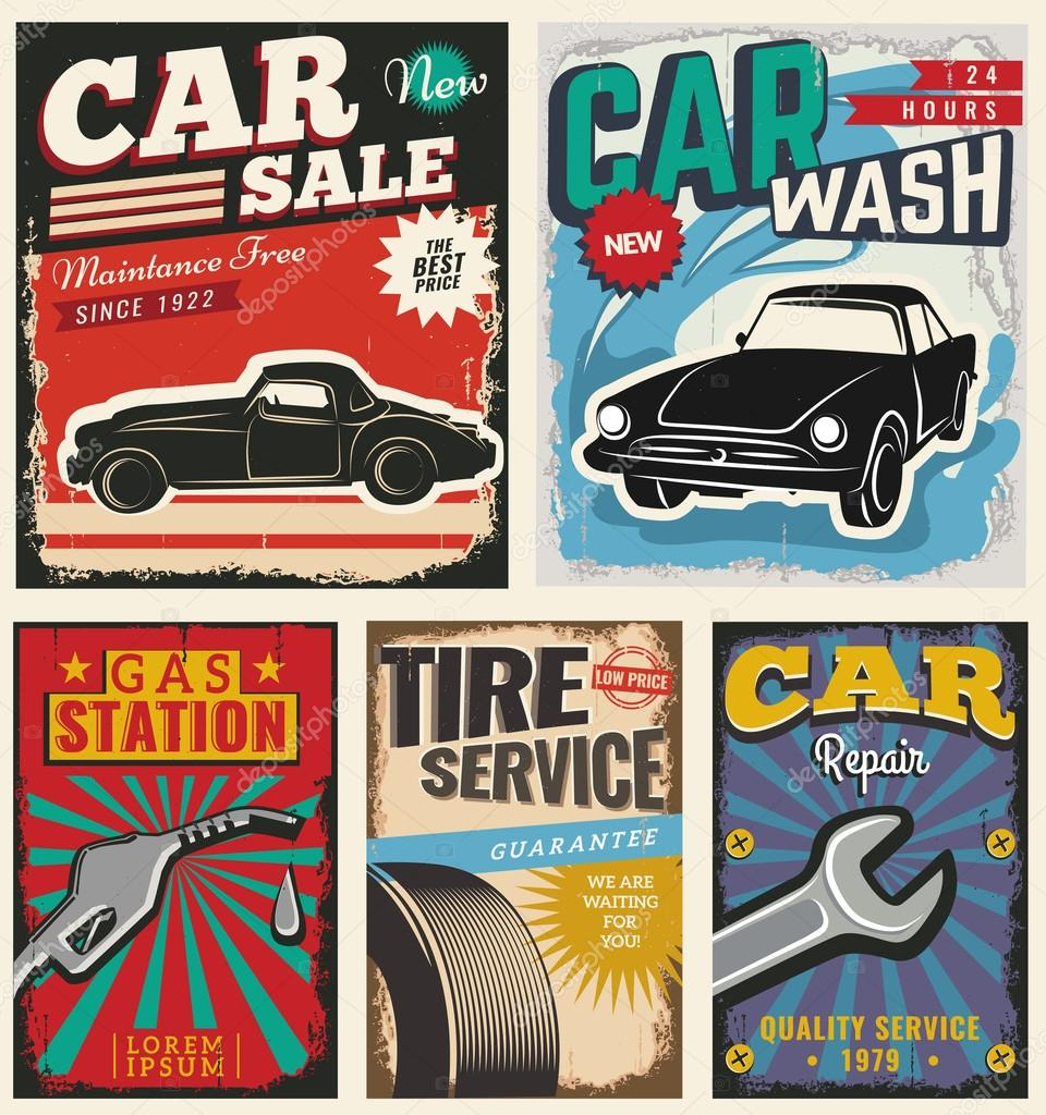 vintage retro car stock vector copy liubou  set of vector cars flyer template classic garage car wash repair and auto service you can use it for grange background banner label vector by