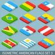 Flat Isometric American Flags Set 3 — Vector de stock  #55006747