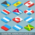 jeu de drapeaux américains plat isométrique 1 — Vecteur #55006753