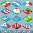 Flat Isometric American Flags Set 2 — Stock Vector #55006783