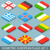Flat Isometric European Flags Set 2 — Stock Vector