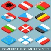 Flat Isometric European Flags Set 1 — Stock Vector