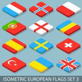 Flat Isometric European Flags Set 3 — Stock Vector