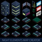 Isometric night elements map creator — Stock Vector #55091101